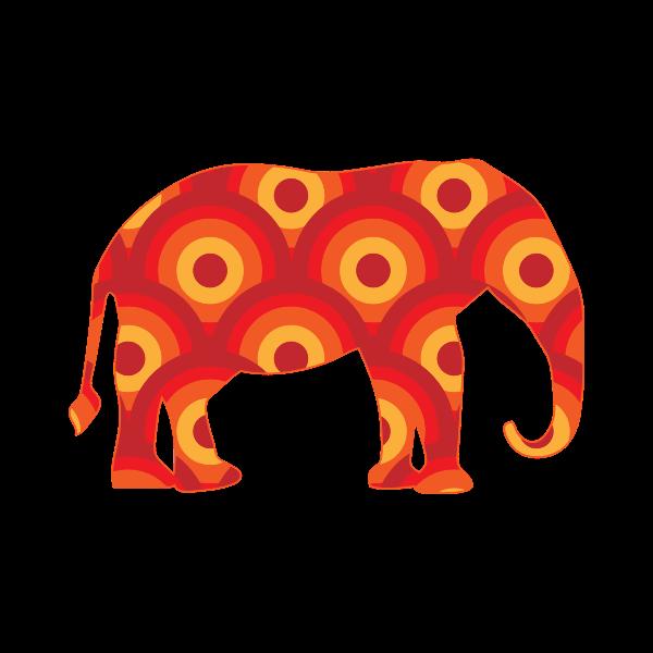 Retro Circles Elephant