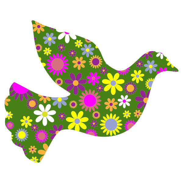 Floral peace dove