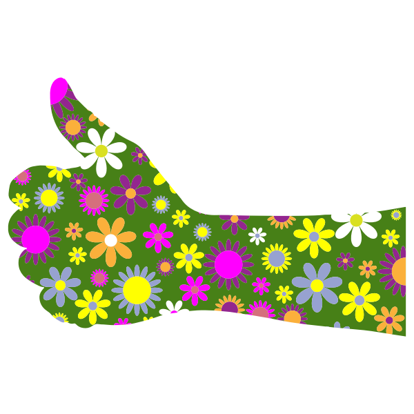 Retro floral thumbs up