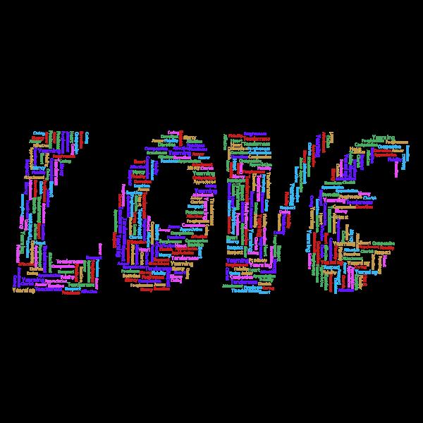 Retro Love Typography Word Cloud Variation 2 No Background