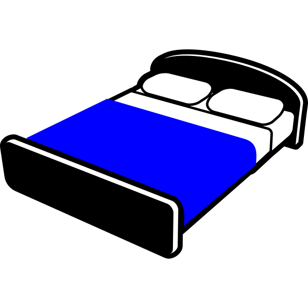 Bed with blue blanket