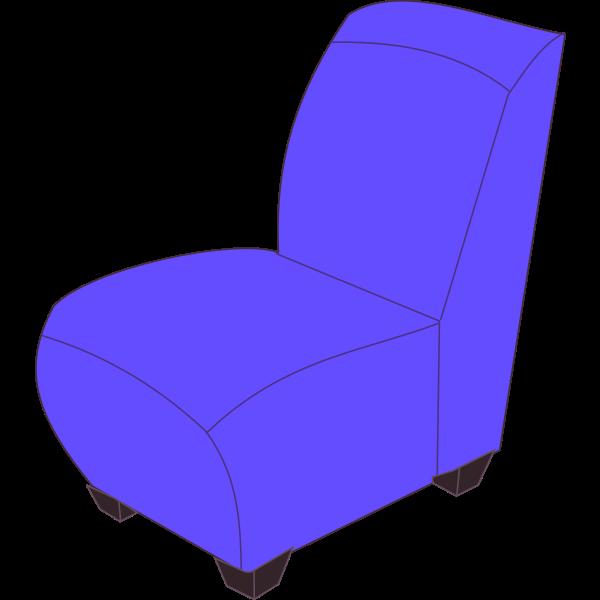 Blue armless chair