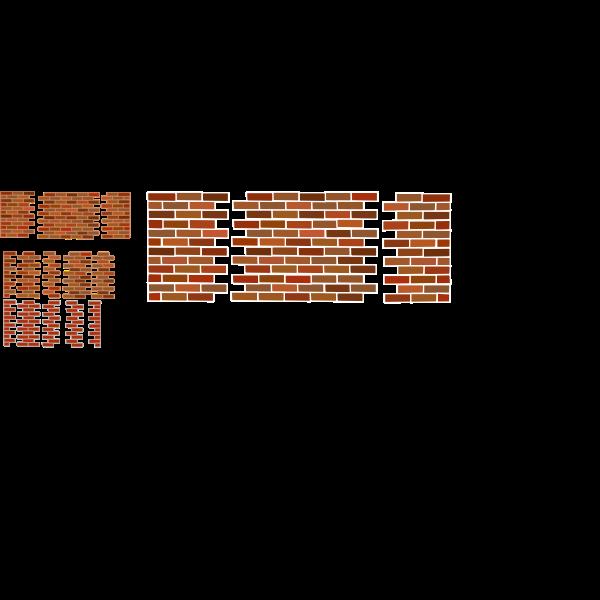 A set of several brick wall sets vector image