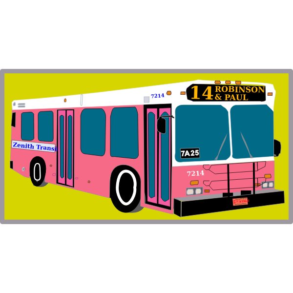 City bus on yellow background vector illustration