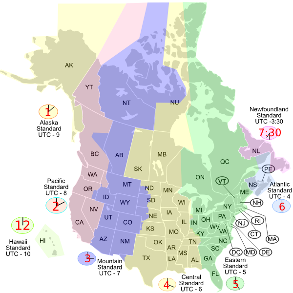 USA Canada time zone map