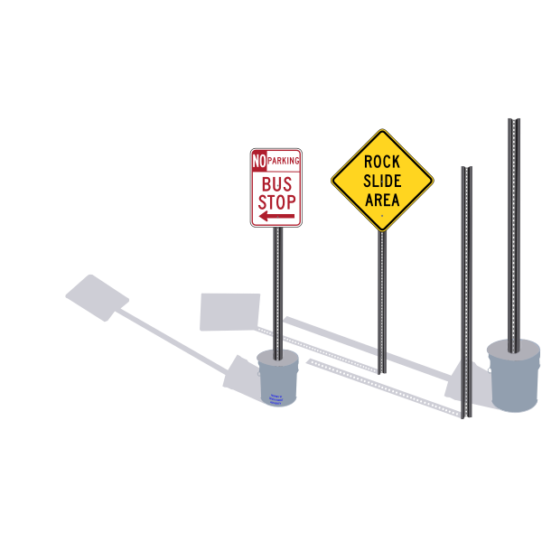 Vector image of set of signposts with shadows