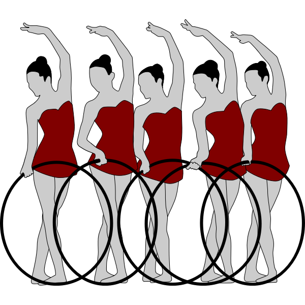 Vector image of five rhythmic gymnastics performers with bows