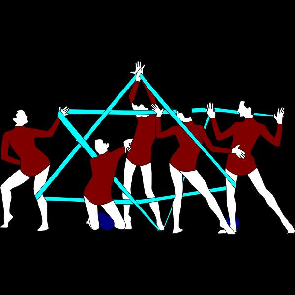 Clip art of rhythmic gymnastics performers with ribbon