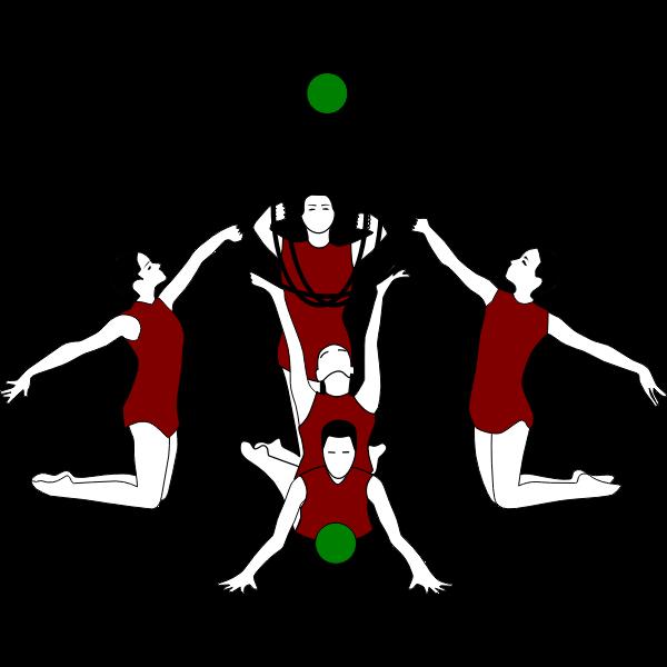 Vector image of rhythmic gymnastics with bows and ball