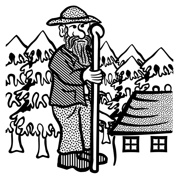 Clip art of old man with a shepherd's stick