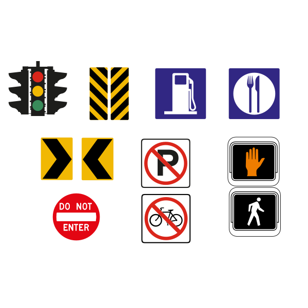 Vector drawing of selection of traffic road signs in color
