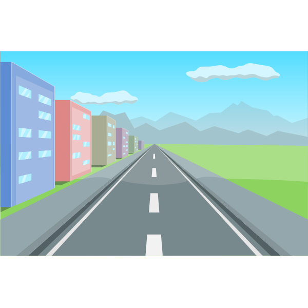 Vector clip art of driving perspective