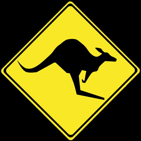 Kangaroo on road caution sign vector image