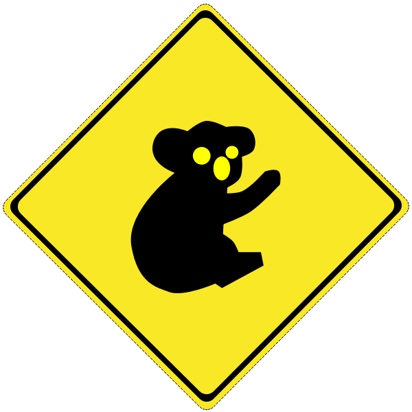 Koalas on the road vector road sign