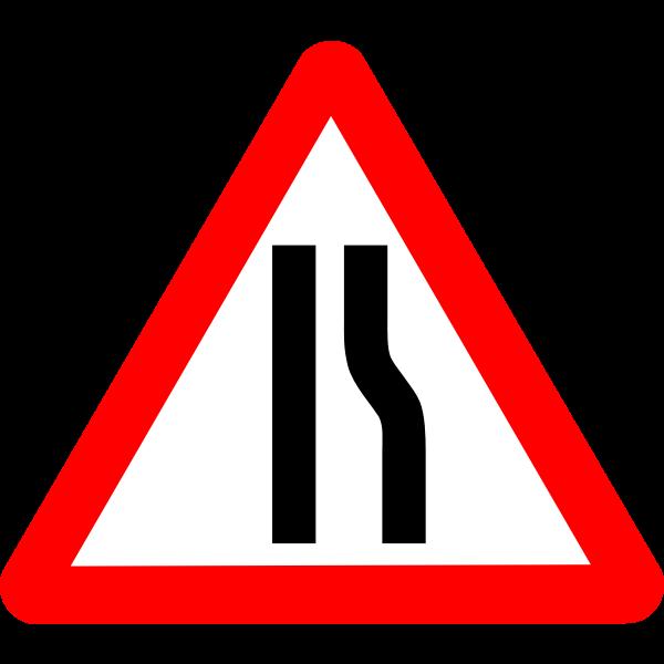 Road sign narrows