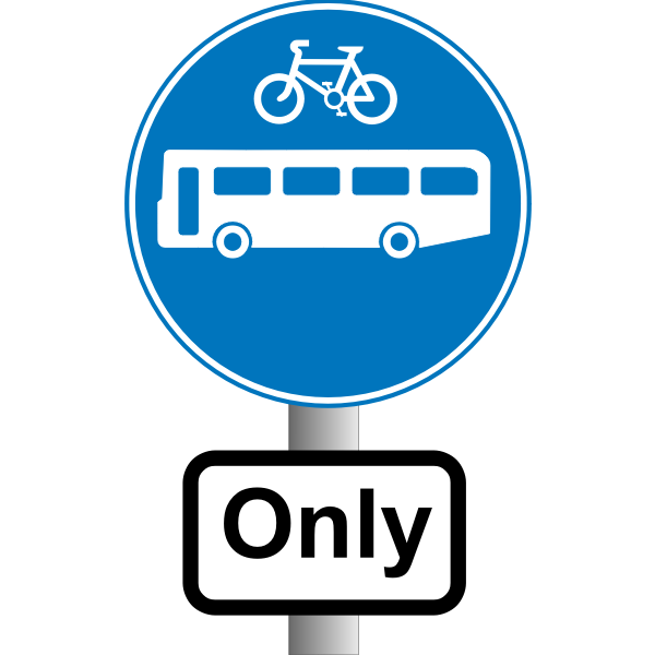 Buses and bikes only information traffic sign vector image