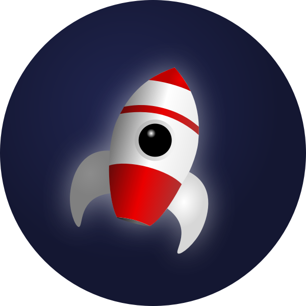 Vector image of cartoon rocket in space