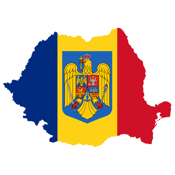 Romania Map Flag With Coat Of Arms