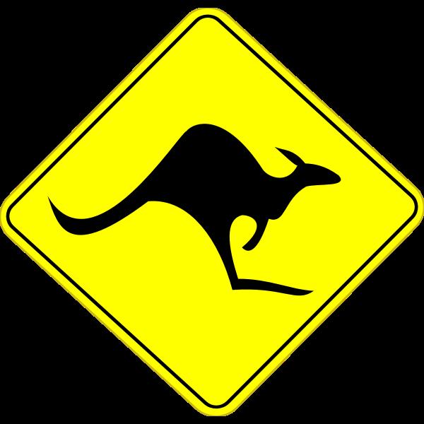 Kangaroo on road caution sign vector graphics