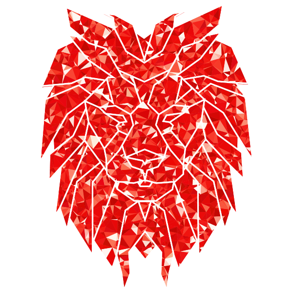 Ruby Polygonal Lion Face