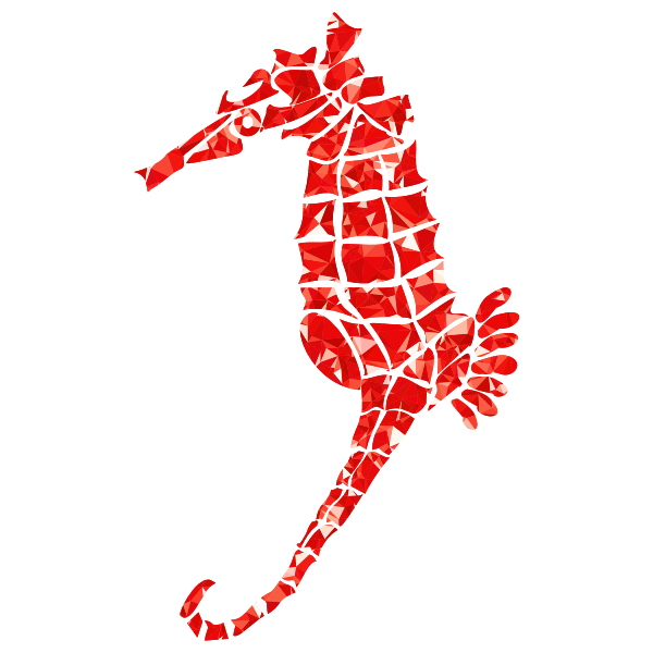 Ruby Stylized Seahorse Silhouette