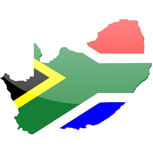 Vector graphics of country shape South Africa flag