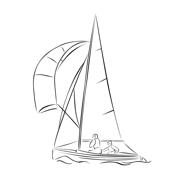 Vector freehand drawing illustration of sailing boa