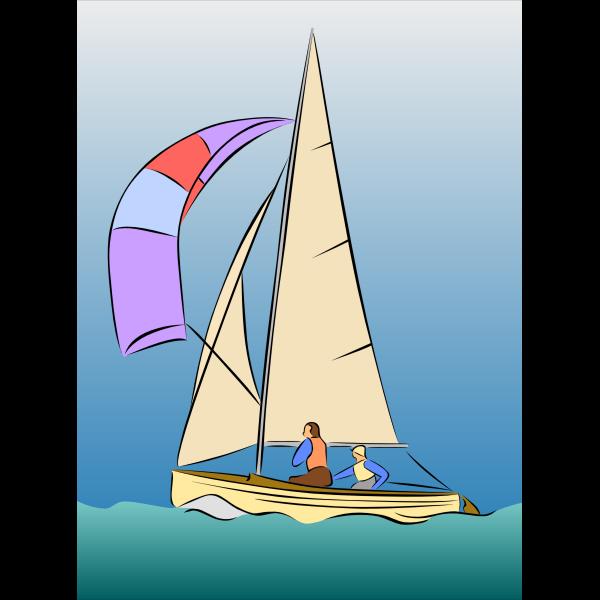 Color sailing boat vector drawing