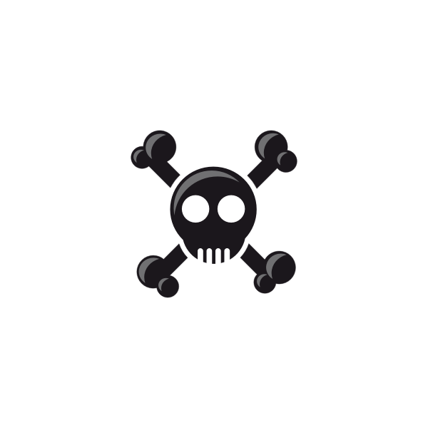 Silhouette of a simple skull illustration