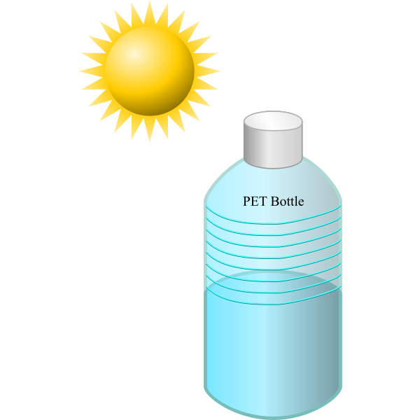 Pet bottle in the sun vector illustration