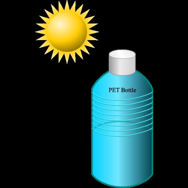 Pet bottle in the sun vector illustration