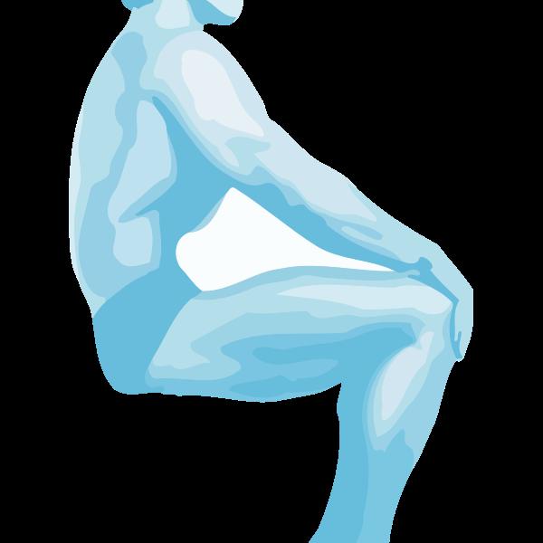 Vector image of sitting bodybuilder man