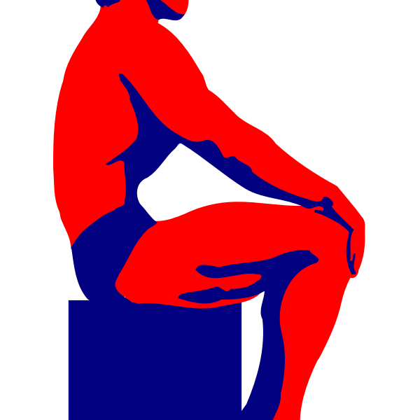 Vector illustration of sitting red and blue bodybuilder man