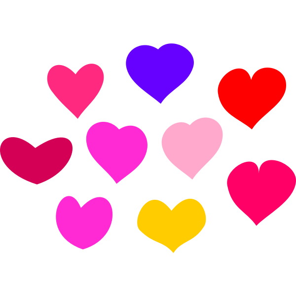 Vector clip art of bundle of hearts