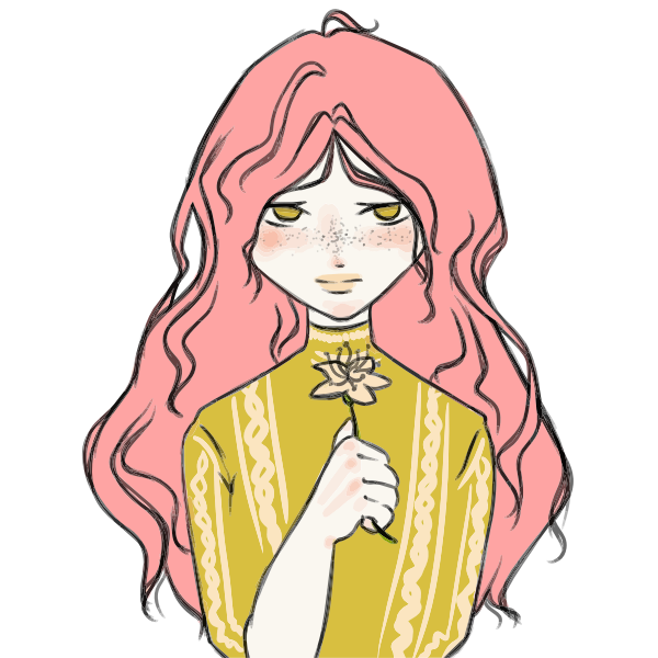 Sad Girl Holding A Flower