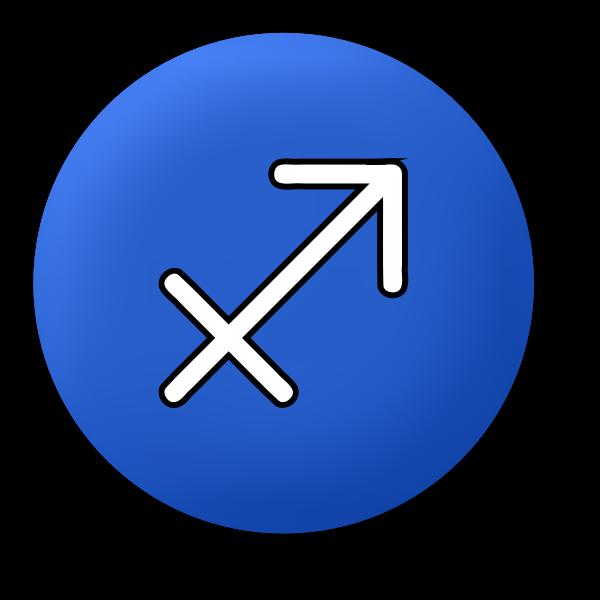 Blue Sagittarius symbol