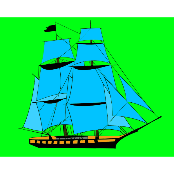Ship with blue sails