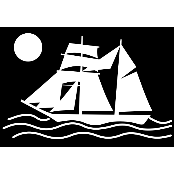 Silhouette of a sailing ship