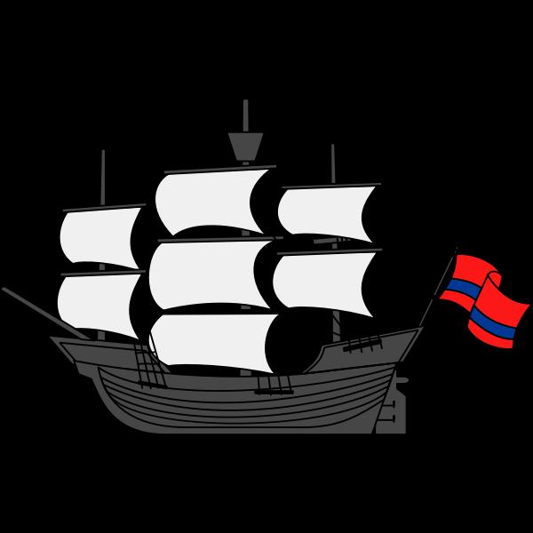 Ship and flag