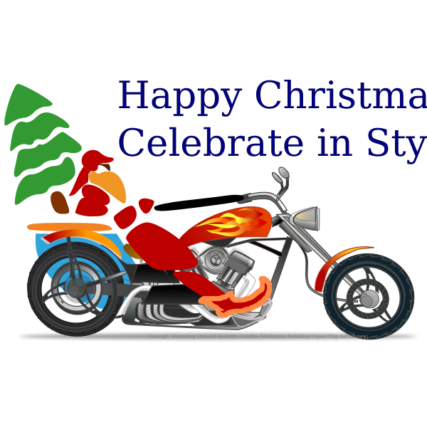 Santa the biker on chopper vector illustration