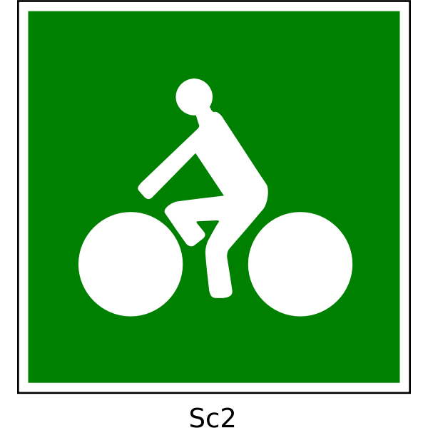 Vector clip art of bicycle path square green sign