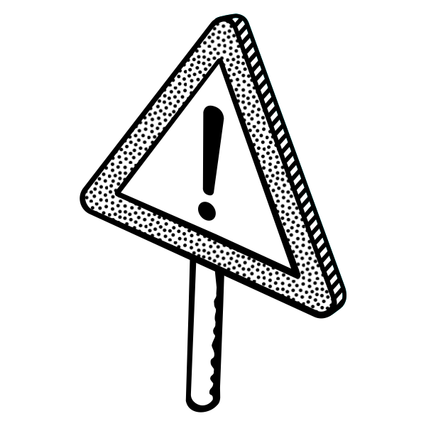 Image of warning traffic sign with a spotty outline