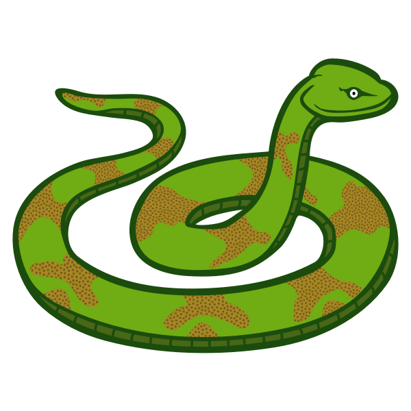 Green and brown color snake line art vector illustration