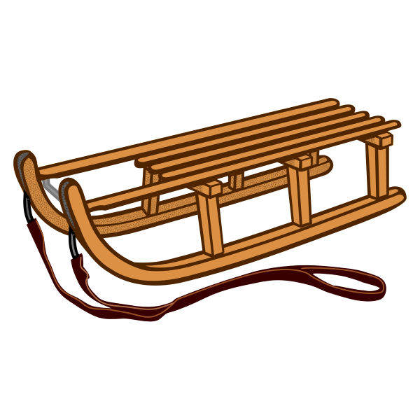 Wooden sled line art vector drawing