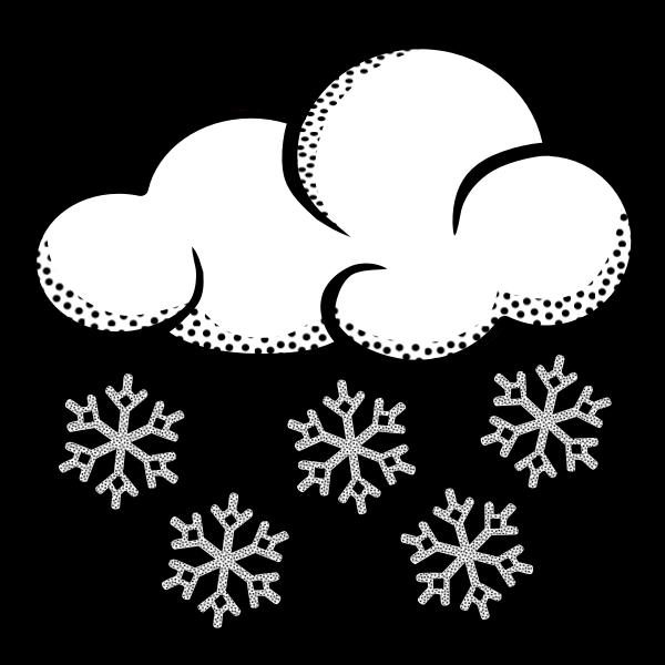 Clip art of think line art snowy cloud