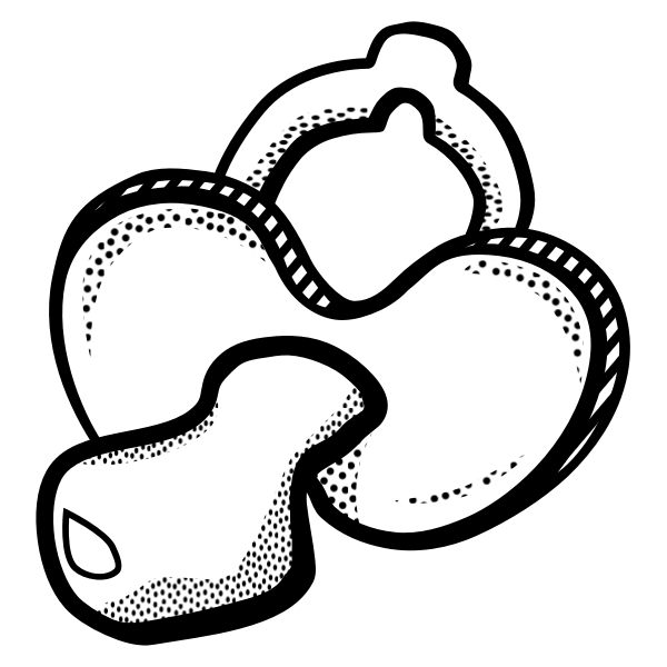 Pacifier for babies in black and white illustration