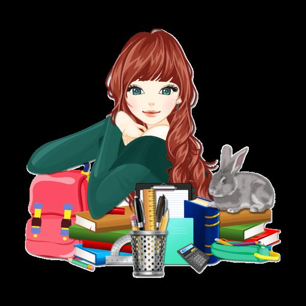 School girl with rabbit