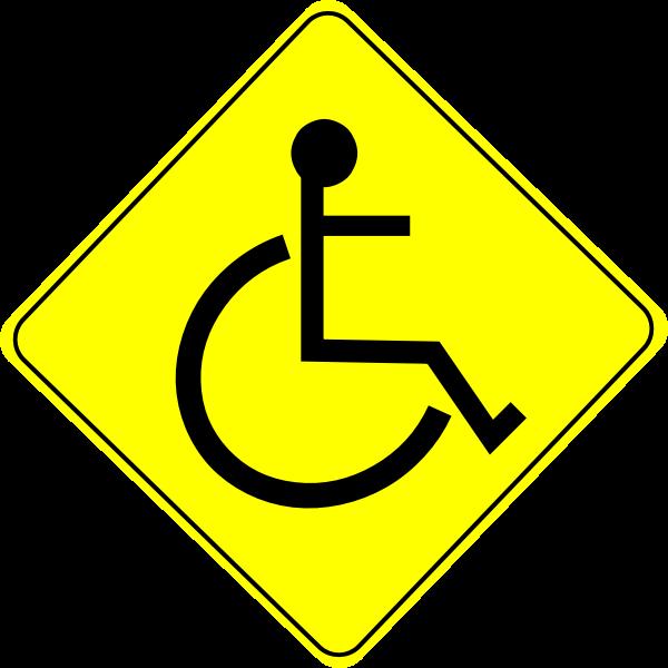 Wheelchair caution sign