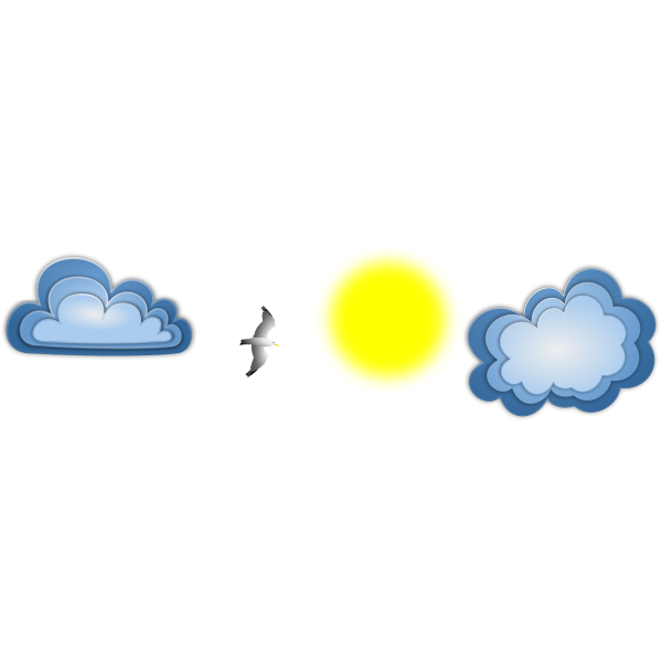 Seagull sun and clouds vector image