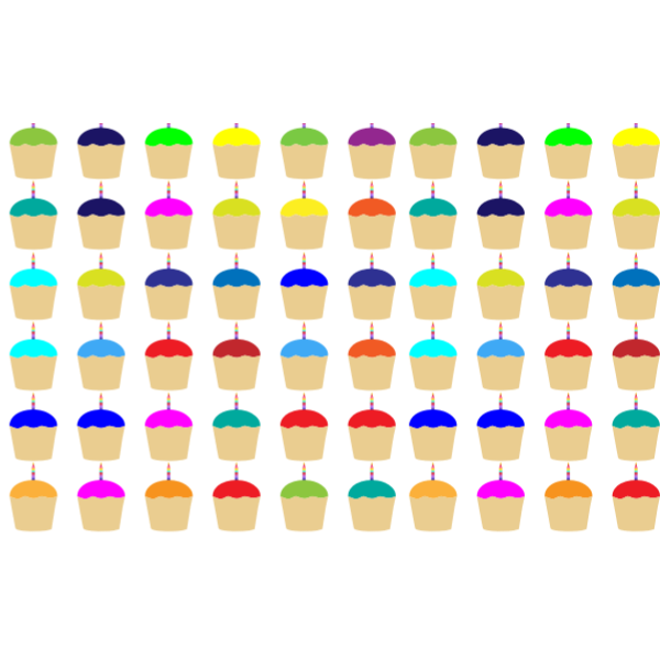 Seamless Colorful Cupcakes With Candles Pattern